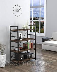 Стелаж низький для дому чи офісу L-125 Loft Design Чорний Матовий / Горіх Модена