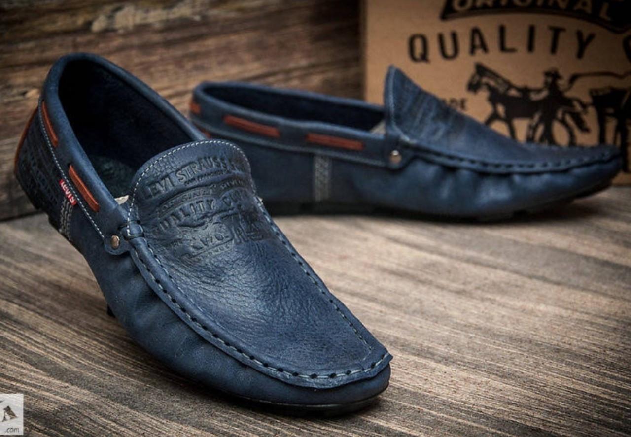 091ec21bae9344 Levi's демісезонні стильні чоловічі сині мокасини шкіра весна осінь  чоловіче взуття Туреччина Левіс репліка - VZUTA