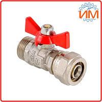 """Кран шаровой Valtec, 16 х 1/2"""" (VT.341.N.1604) с обжимным соединением и наружной резьбой"""
