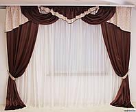 Красивый комплект штор для зала