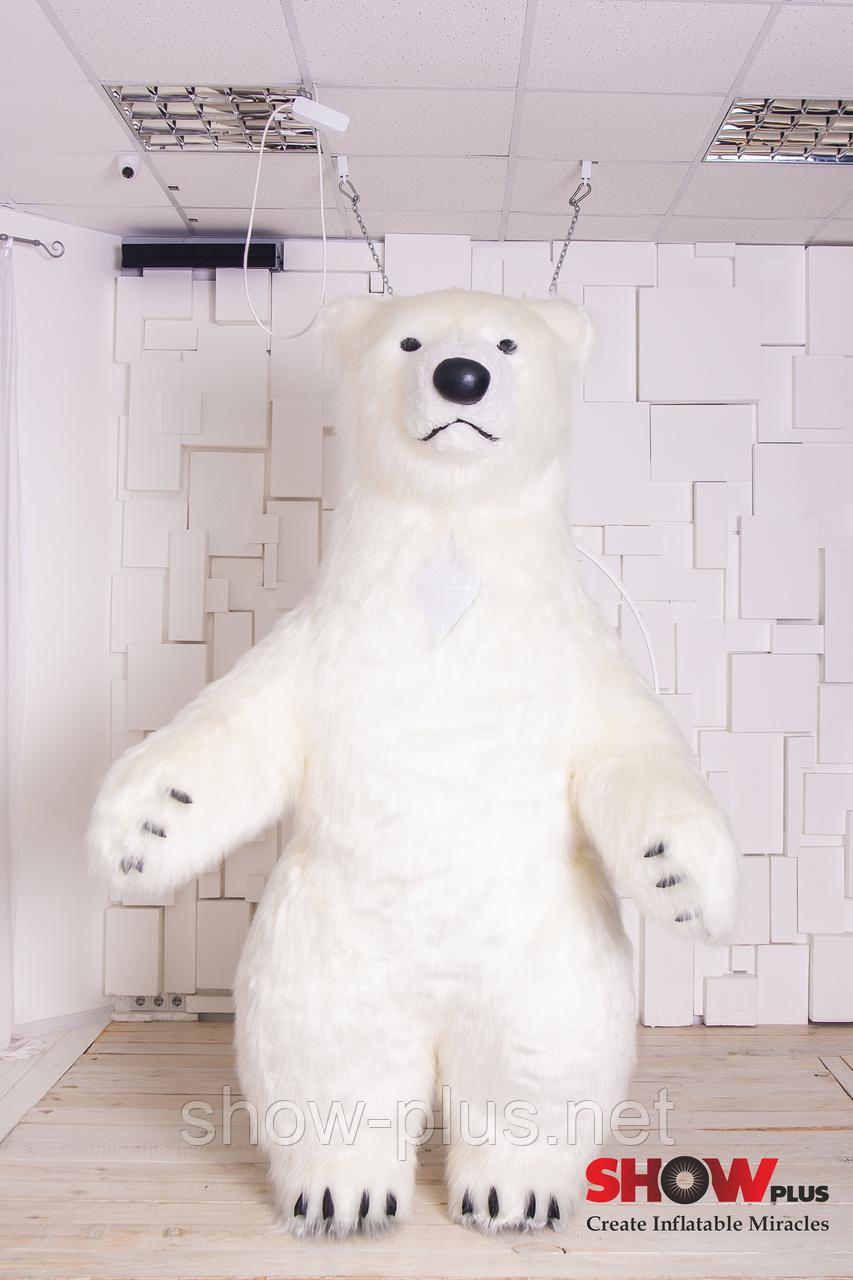 Надувной Костюм ( Пневмокостюм, Пневморобот ) Белый Медведь с Длинным мехом ( мини ), фото 1
