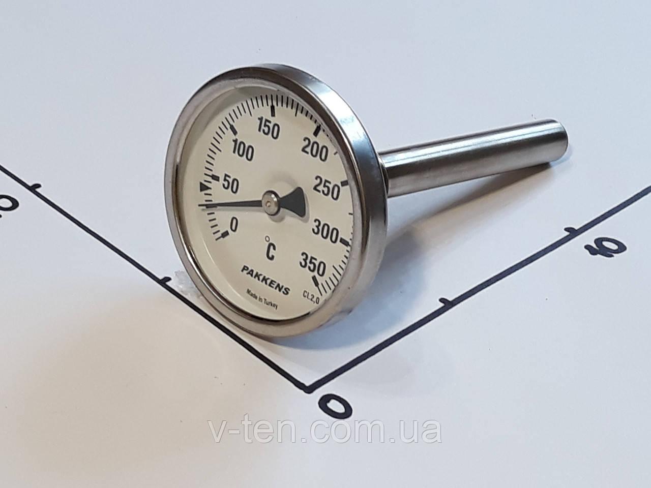 "Термометр Ø63мм / 350°С / L-110 мм 1/2"" стержневой PAKKENS (Турция)"