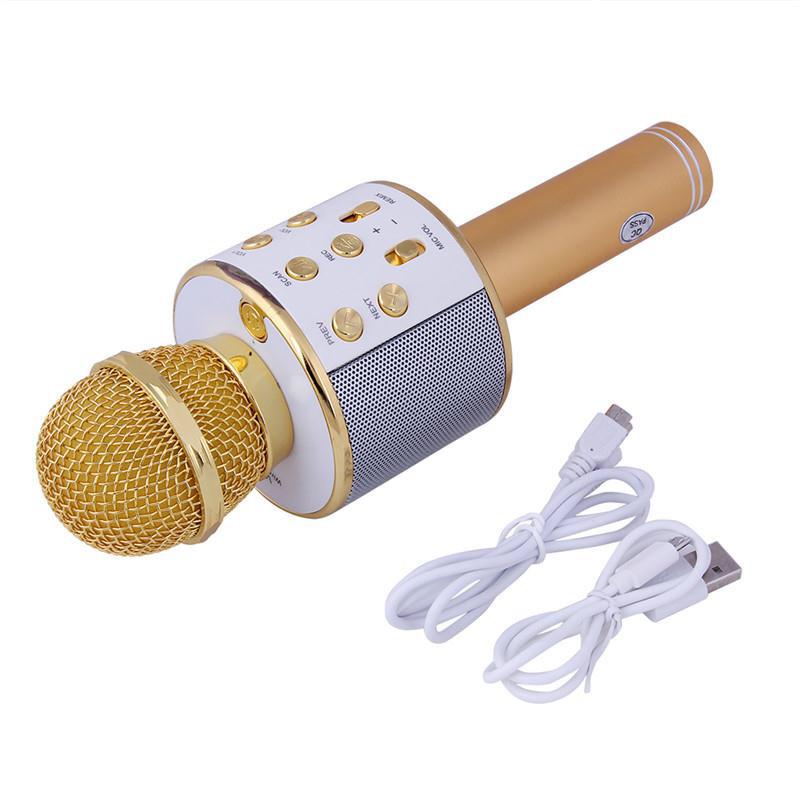 Беспроводной караоке микрофон Wster WS 858 Золотистый