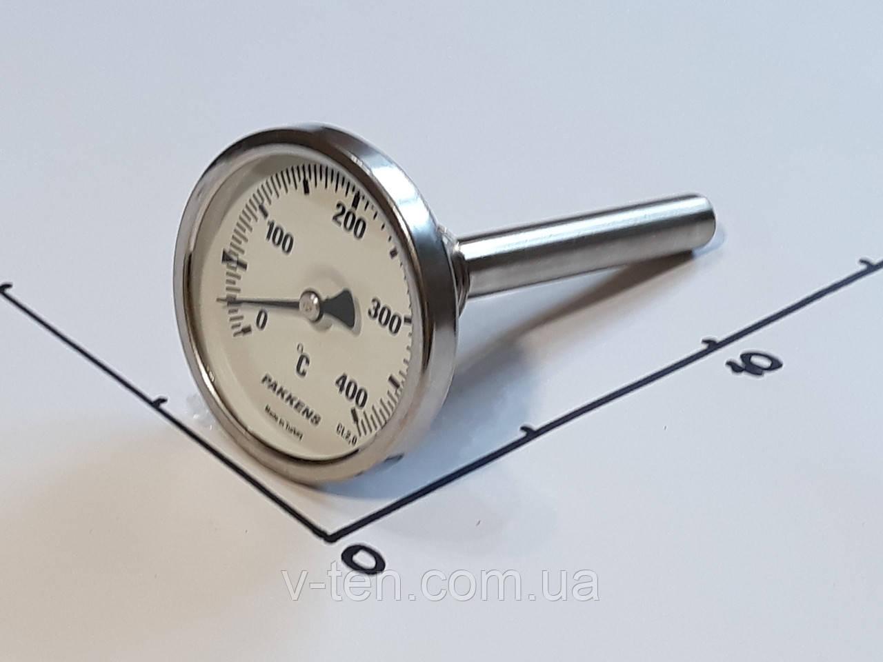 "Термометр Ø63мм / 400°С / L-110 мм 1/2"" стержневой PAKKENS (Турция)"