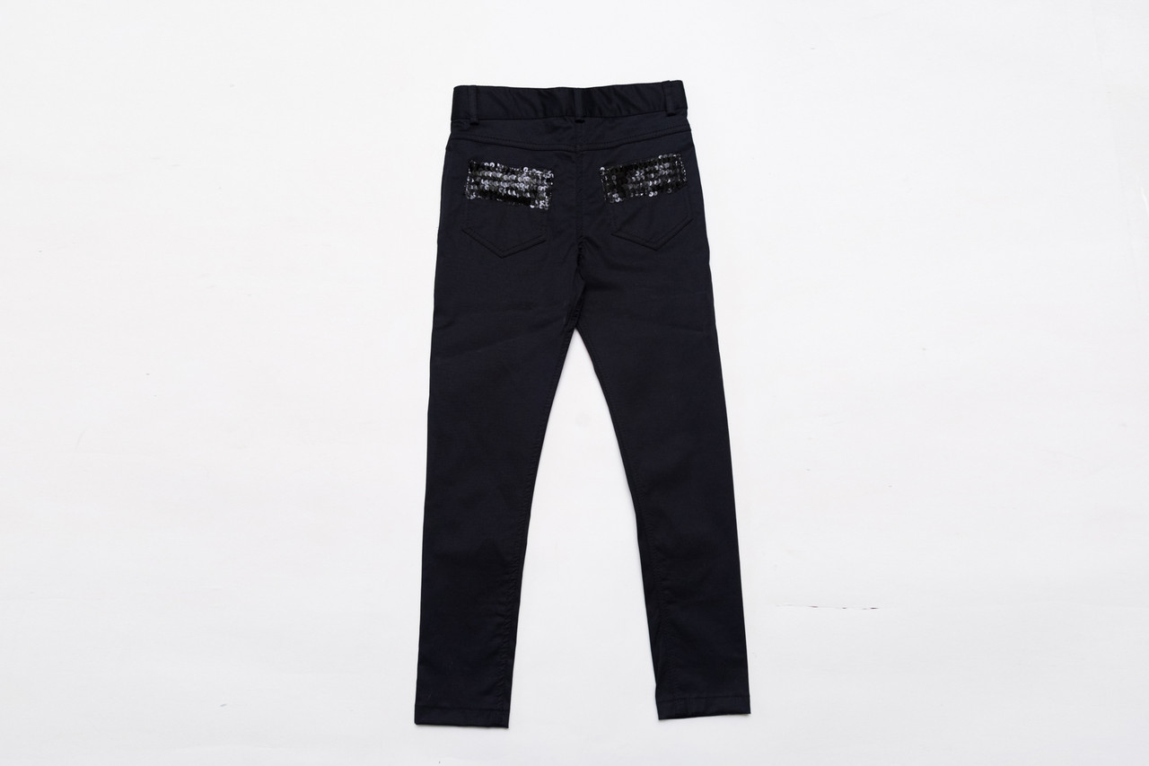 Штани для дівчинки чорні, з пайеткой SmileTime New Style коттон, чорні