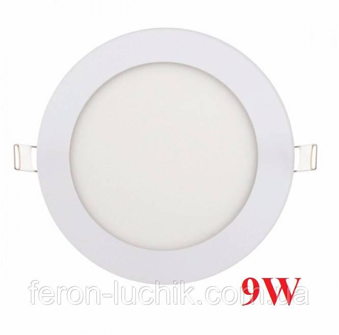 Світильник вбудований Horoz 9W Slim 4200K-6400K світлодіодний круглий (LED панель)