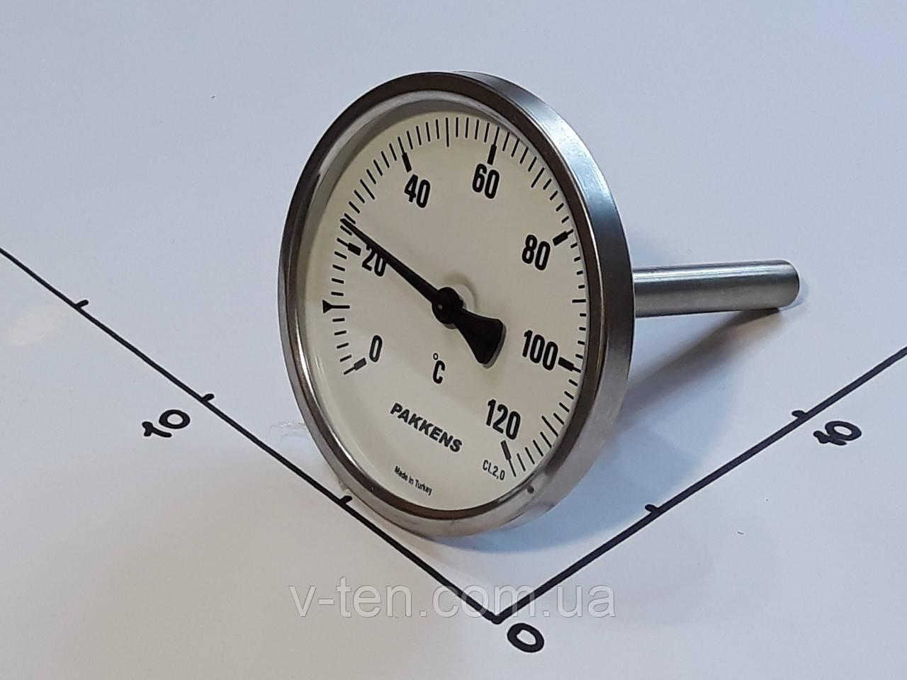 "Термометр Ø100мм / 120°С / L-110 мм 1/2"" стержневой PAKKENS (Турция)"