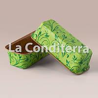 Бумажные формы для выпечки кексов и пирогов Plumpy, зеленые, прямоугольные 158x54x50 мм