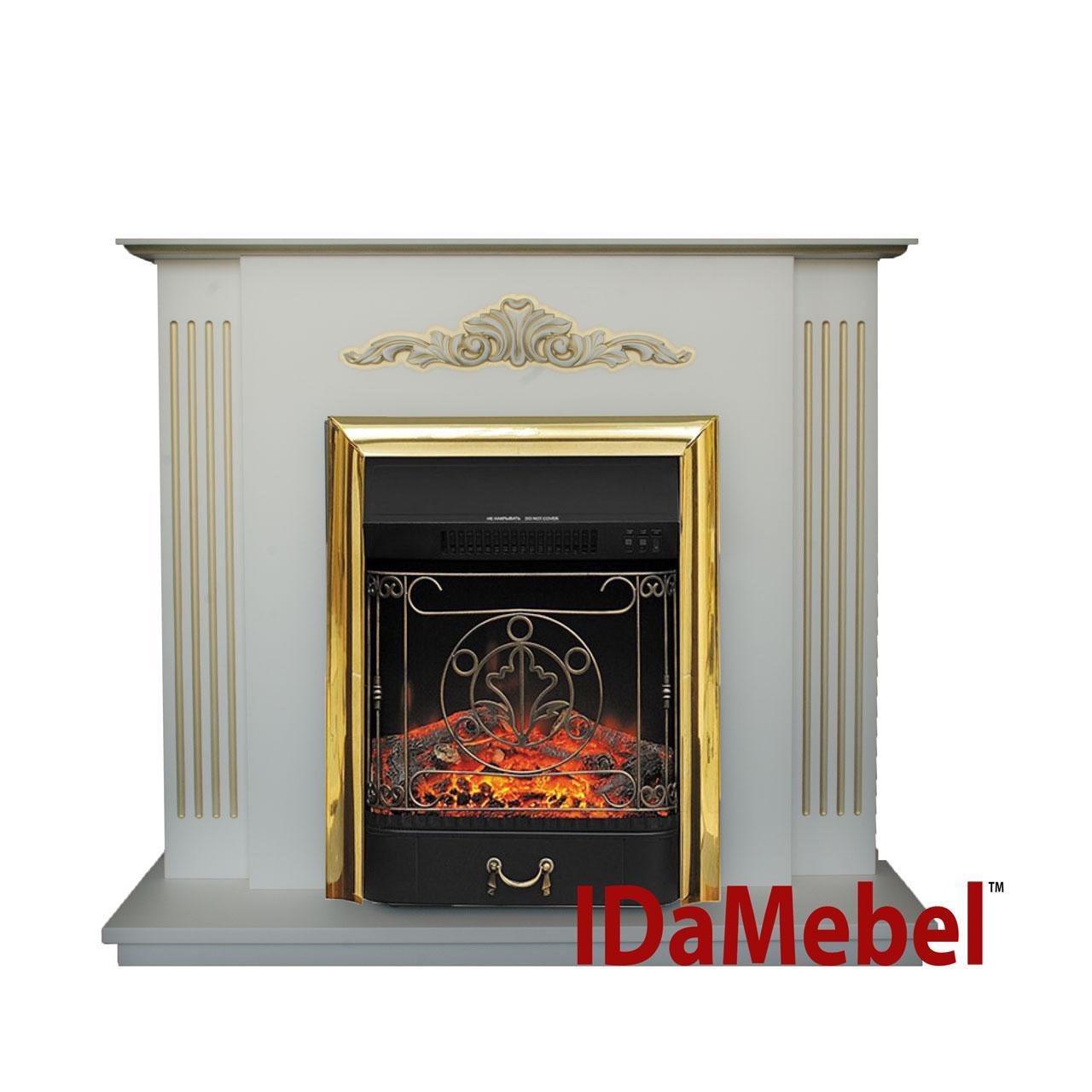Каминокомплект Catarina Gold с очагом  Royal Flame Majestic FX M Brass (звуковой эффект)
