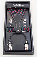 Мужские подтяжки Paolo Udini красно-серые с узором, фото 1