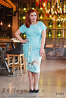 Льняное большое платье с прошвой ментол, фото 1