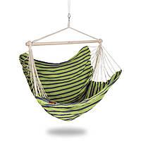Гамак-крісло Spokey BENCH DELUXE (original) 140 см, бавовна, дерево, підлога-гойдалки, фото 1