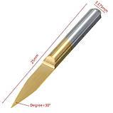 Набір фрез 0.2 мм 30 градусів 3.175 мм з титановим покриттям з вольфрамової сталі з загальною довжиною 30 мм, фото 3