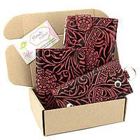 Подарочный набор №17: Кошелек + обложка на паспорт + ключница Амелия (бордовый цветок)