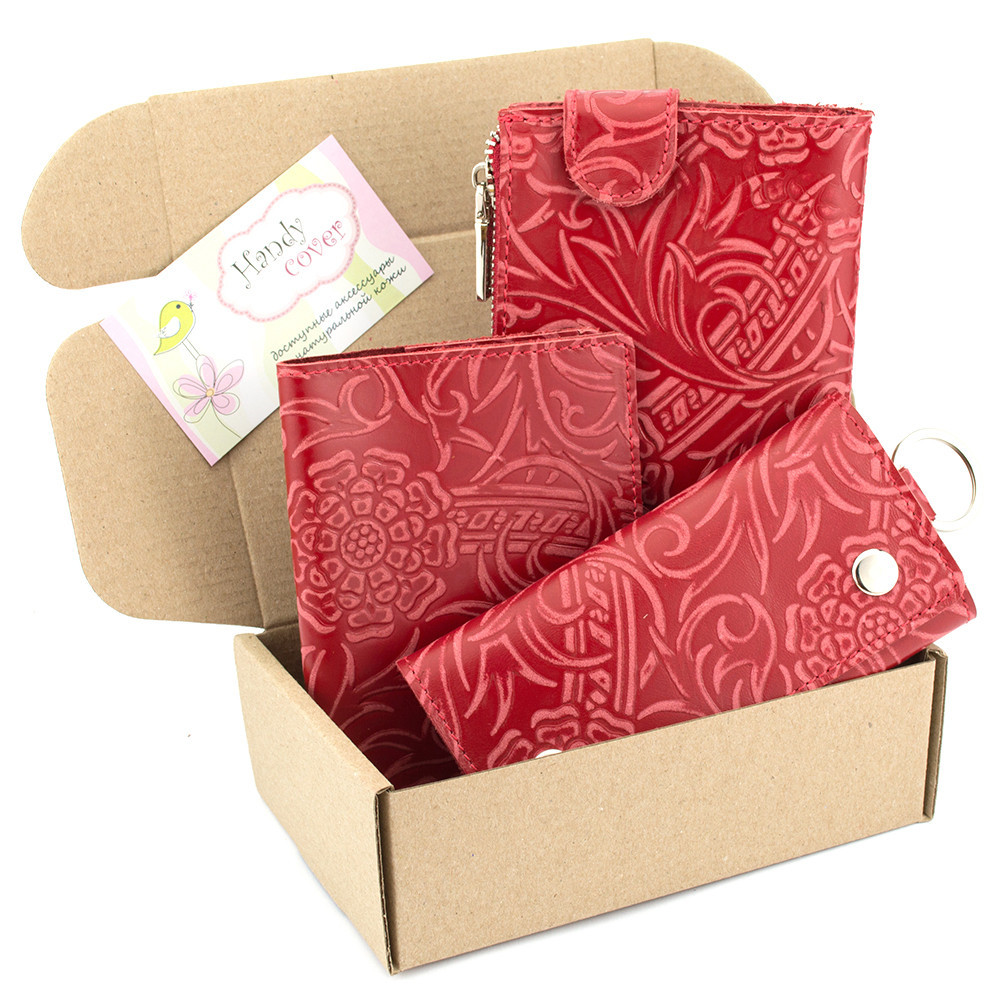 Подарочный набор №17: Кошелек + обложка на паспорт + ключница Амелия (красный цветок)