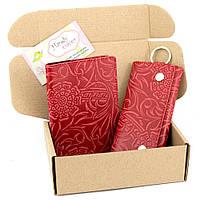 Подарочный набор №18: Обложка на паспорт + ключница Амелия (красный цветок)