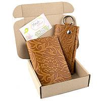 Подарочный набор №18: Обложка на паспорт + ключница Амелия светло-коричневый