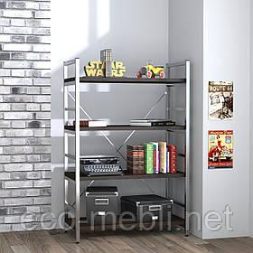 Стелаж низький для дому чи офісу L-125 Loft Design Хром / Венге Корсика