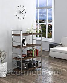 Стелаж низький для дому чи офісу L-125 Loft Design Хром / Горіх Модена