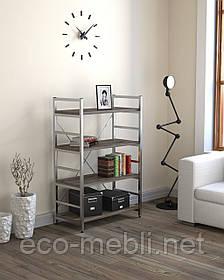 Стелаж низький для дому чи офісу L-125 Loft Design Хром / Дуб Палєна