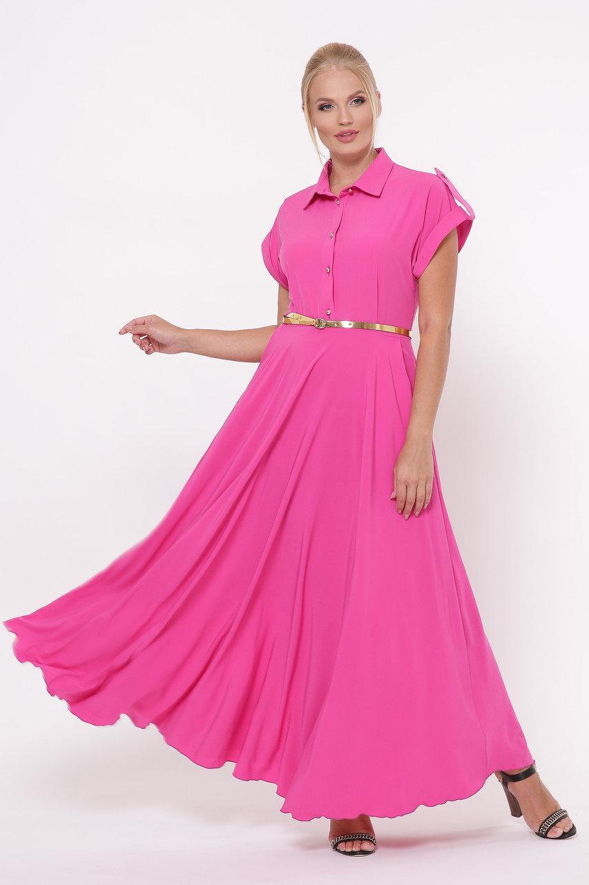 Роскошное платье макси в пол Алена розовое Большие  Размеры 48, 50, 52, 54