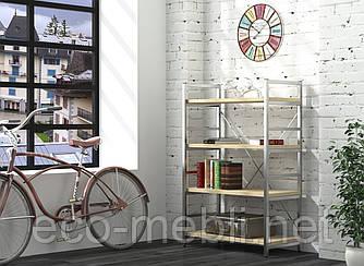 Стелаж низький для дому чи офісу L-125 Loft Design Хром / Дуб Борас