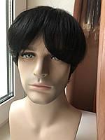 🤵♀️ Мужской черный натуральный парик, короткий, из 100% натуральных волос