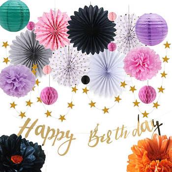 Праздничный декор: бумажные помпоны, цветы, шары плиссе, соты, веера, гирлянды