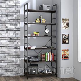 Стелаж високий для дому чи офісу L-190 Loft Design Чорний Матовий / Венге Корсика