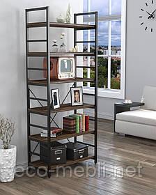 Стелаж високий для дому чи офісу L-190 Loft Design Чорний Матовий / Горіх Модена