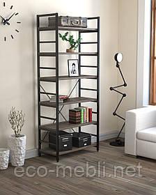 Стелаж високий для дому чи офісу L-190 Loft Design Чорний Матовий / Дуб Палєна
