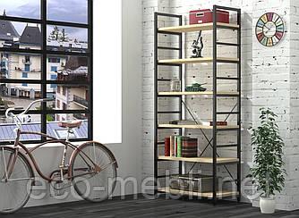 Стелаж високий для дому чи офісу L-190 Loft Design Чорний Матовий / Дуб Борас