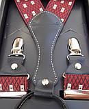 Красные мужские подтяжки Paolo Udini с узором, фото 3