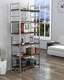 Стелаж високий для дому чи офісу L-190 Loft Design Хром / Горіх Модена