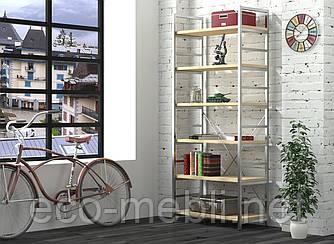 Стелаж високий для дому чи офісу L-190 Loft Design Хром / Дуб Борас