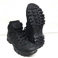 Ботинки тактические летние, термопосадка подошвы, кожаные+сетка, Outdoor 4с черные, фото 1