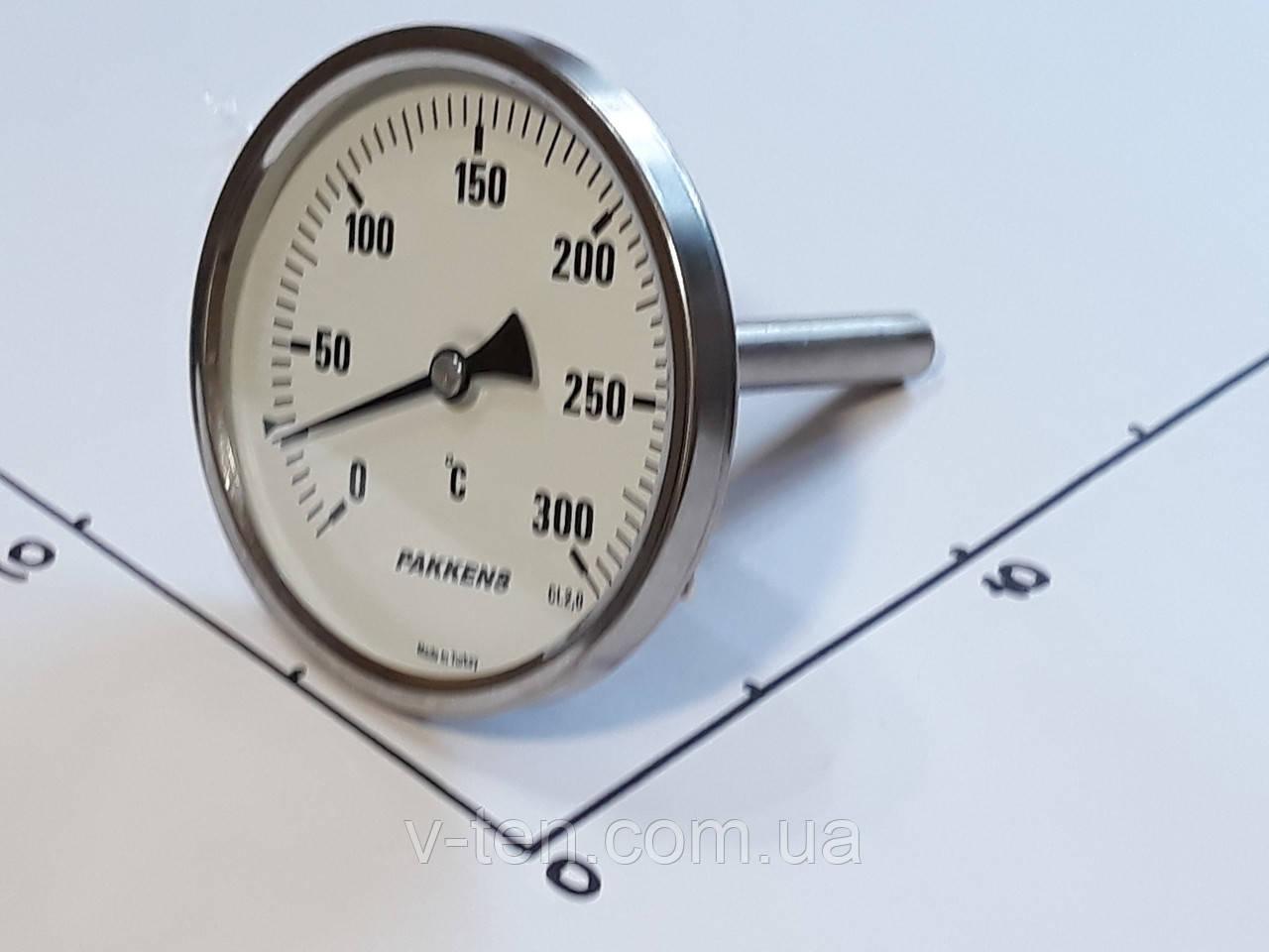 "Термометр Ø100мм / 300°С / L-110 мм 1/2"" стержневой PAKKENS (Турция)"