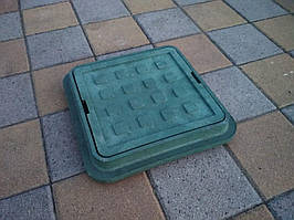 Люк канализационный полимерпесчаный садовый малый зеленый  300*300