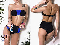 Женский купальник с завышенной талией. Ткань: бифлекс. Размеры: с,м,л.Цвет:синий, красный, фиолетовый с черным