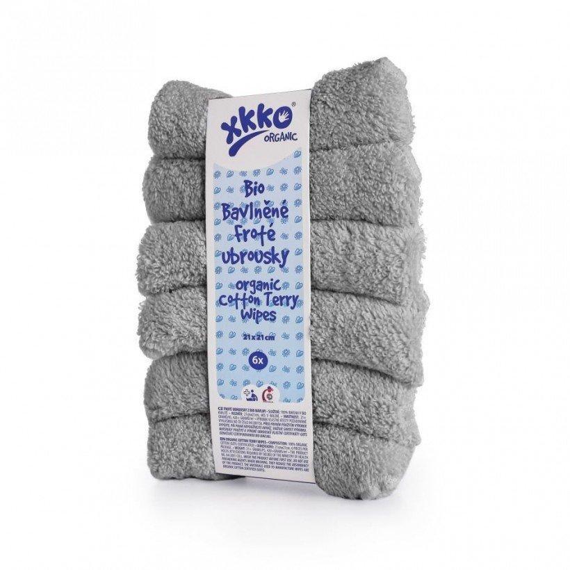 Салфетки серые из органического хлопка XKKO 21x21, 6 шт