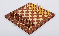 Шахматы, шашки, нарды 3 в 1 деревянные с магнитом фигуры-дерево размер доски 34см x 34см