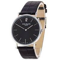 Мужские часы Patek Philippe - Slim, цвет серебро с черным циферблатом