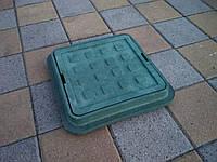 Люк канализационный полимерпесчаный садовый малый зеленый  300*300 (до 1т), фото 1