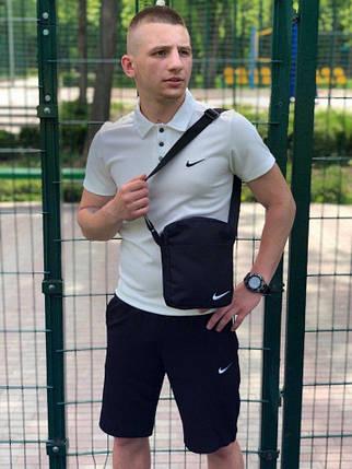 Мужская футболка (поло) в стиле Nike белая (S, M, L, XL, XXL размеры), фото 2