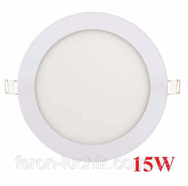 Врізний світильник круглий 15W 4200K-6400K LED панель