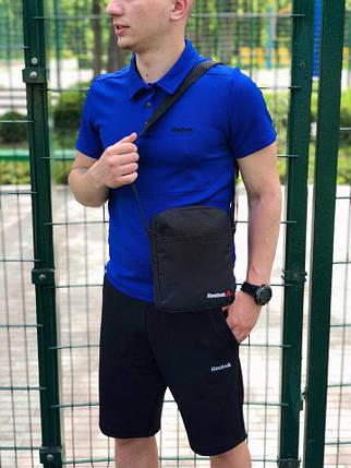 Мужская футболка (поло) в стиле Reebok синяя (S, M, L, XL, XXL размеры), фото 2