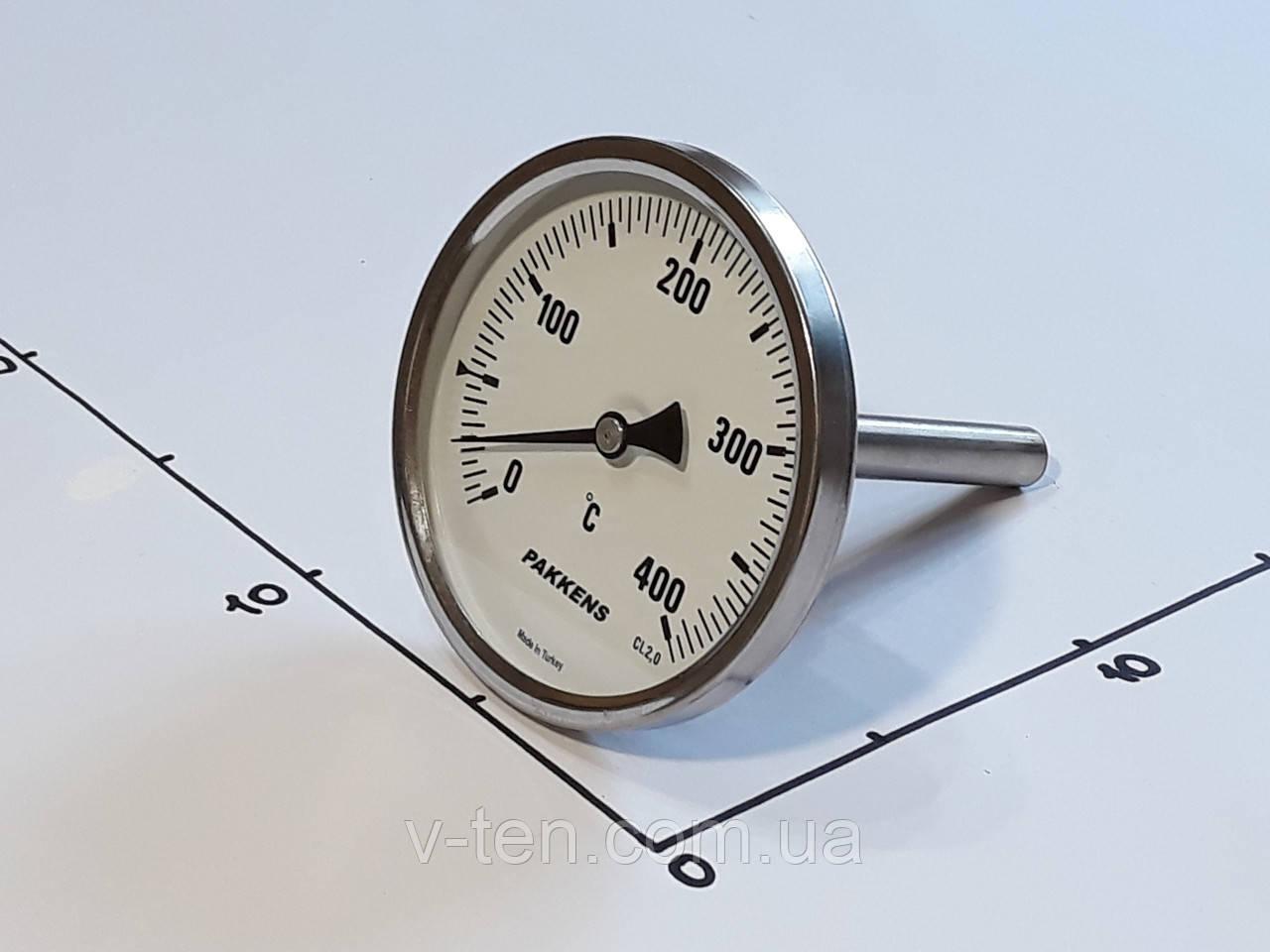 "Термометр Ø100мм / 400°С / L-110 мм 1/2"" стержневой PAKKENS (Турция)"