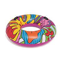 Надувной круг для плавания с яркой расцветкой и ручками Bestway 36125 от 12 лет