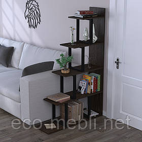 Стелаж приставний для дому чи офісу L-160 Loft Design Чорний Матовий / Венге Корсика