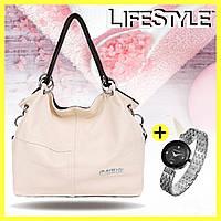Кожаная сумка через плечо Weidipolo + Часы Baosaili в подарок